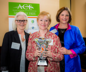 Mitchelle Johnson (center) recently received The Outstanding Service and Dedication award at ACE's Annual Award ceremony.  Presented by Lynn Thogersen (l), ACE Board Member, and Grace Fricks (r), president and CEO of ACE.